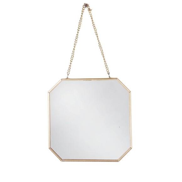 Achat en ligne Miroir avec chaîne en laiton 18,5x18,5cm