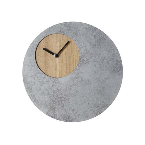 Horloge poser ronde en bois et b ton pas cher z dio for Horloge zodio