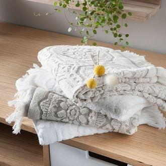 Serviette de douche 70x140cm en coton/lin beige barocco