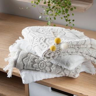 Serviette de bain 100x150cm en coton/lin beige barocco