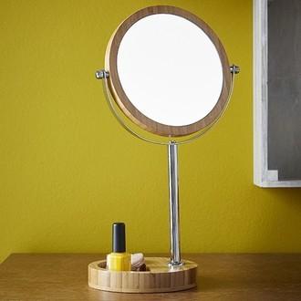 Miroir grossissant a poser en bamboo avec rack double face X5 diamètre 17cm