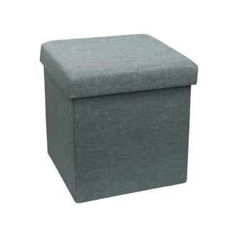 Coffre assise Ottoman en lin gris