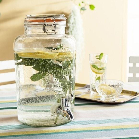 Fontaine à boisson en verre transparente 5L