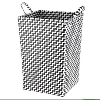 Panier à linge avec anses tréssé noir et blanc