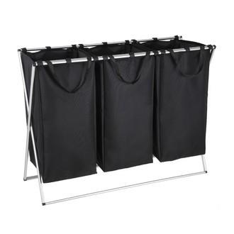 Panier à linge à 3 compartiments noir