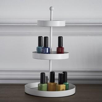 Range vernis à ongles blanc rotatif Wedding - 3 étages pour 40 vernis