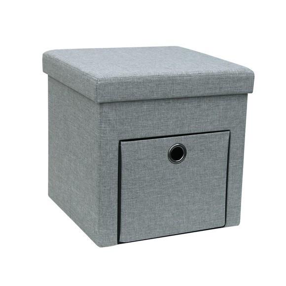acquista online Pouf con cassetto in tessuto grigio