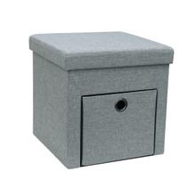 Achat en ligne Coffre assise avec tiroirs Ottoman lin gris
