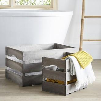 Caisse en bois ajourée 55x36x30cm
