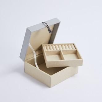 Boite à bijoux en tissu grise Petit modèle H7,5x15x15cm