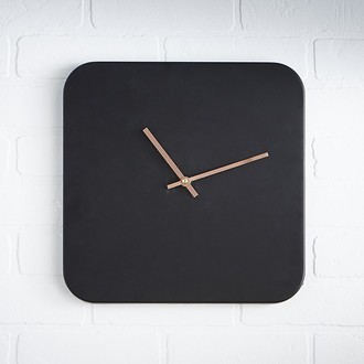 Horloge murale rectangle en métal noir