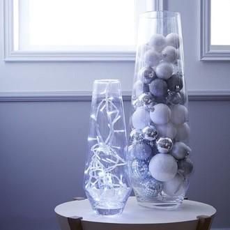 Vase cylindrique en verre effet craquele h40cm