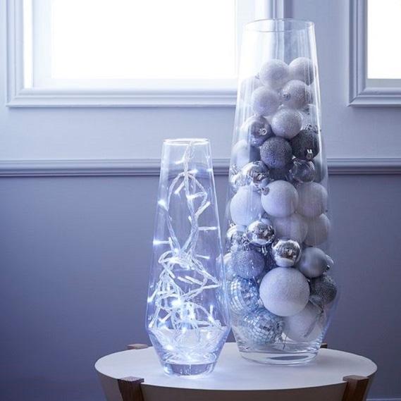 Achat en ligne Vase cylindrique en verre effet craquele H40cm