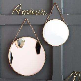 Miroir rond doré 30x30cm