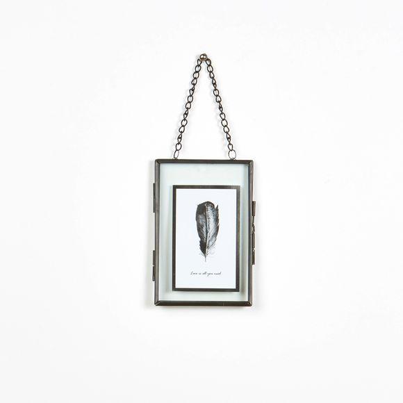 cadre entre deux verres en m tal noir 10x15cm pas cher z dio. Black Bedroom Furniture Sets. Home Design Ideas