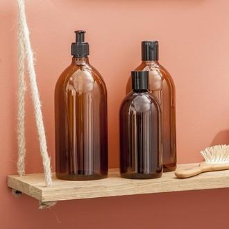 Flacon pour savon liquide ambrée 1l