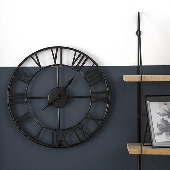 Horloge murale vintage en m tal gris 40cm pas cher z dio for Horloge zodio