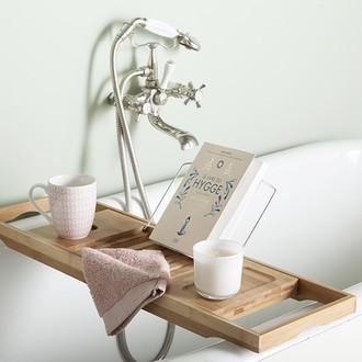 Pont de baignoire avec support livre en bambou