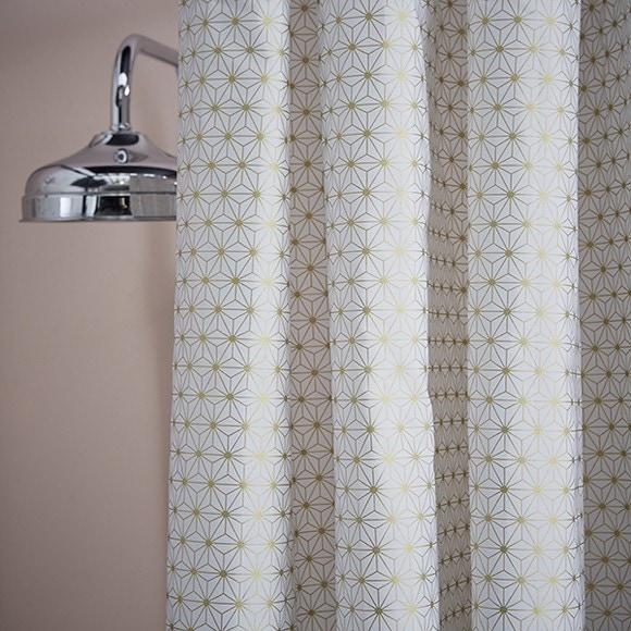 rideau de douche atmosphérique blanc et or 180x200cm pas cher - zôdio