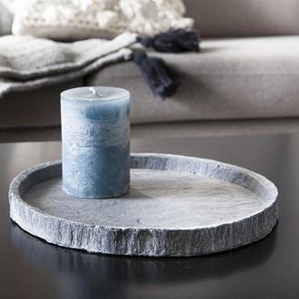 Plateau bougie rond ciment et gris d24cm