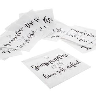 20 serviettes 33x33cm en papier décorées La gourmandise blanche
