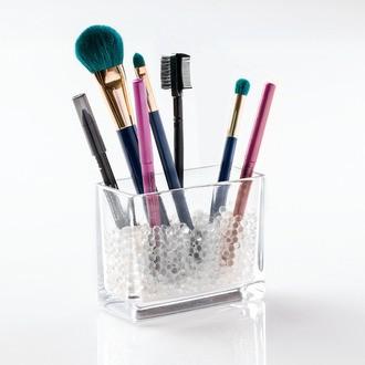 Pot à pinceaux ou crayons en verre avec billes de maintien Bella 11,4x8,9x5,1cm