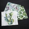 20 serviettes 33x33cm en papier décorées Cactus