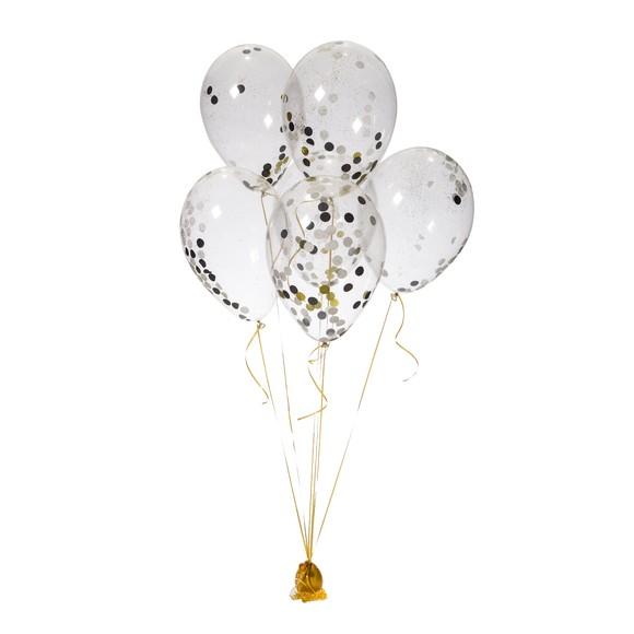 acquista online Set de 6 ballons confettis or,noir,blanc