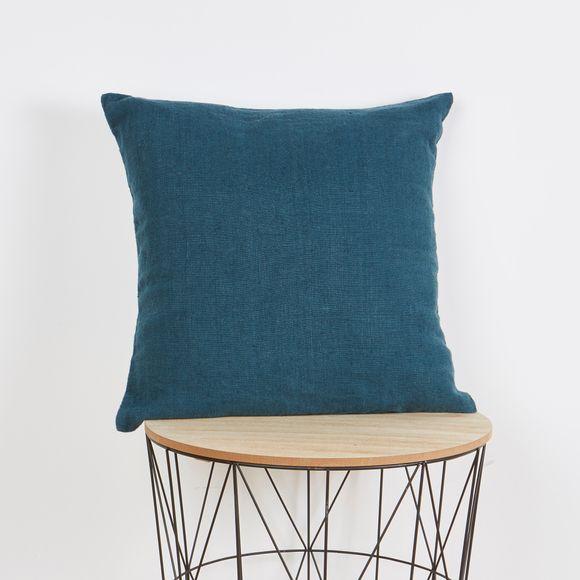 Achat en ligne Coussin carré en lin bleu de prusse 45x45cm
