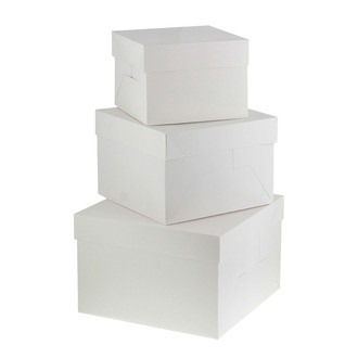 Boite à gâteau blanche 26x26x18cm