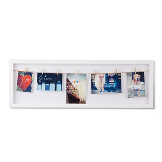 Pèle-mêle vitrine blanc - 5 pinces