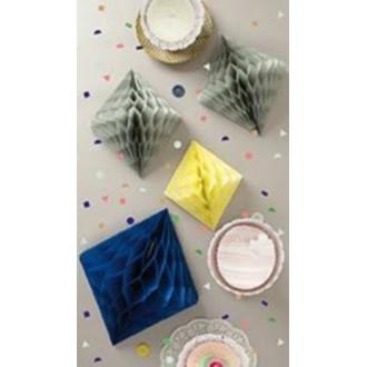 RICO DESIGN - Set de 3 diamant en papier en nid d'abeille bleu