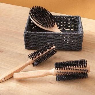 Brosse à cheveux en bois avec picots en sanglier