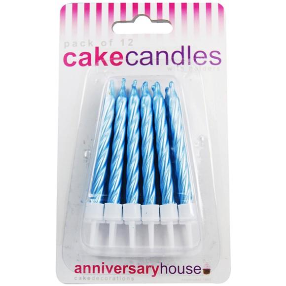 Achat en ligne Set de 12 bougies d'anniversaire bleues