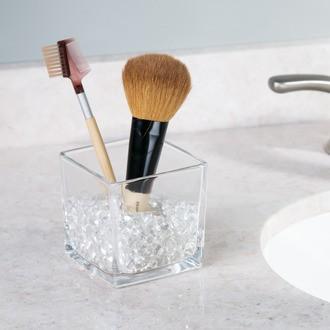 Pot à pinceaux ou crayons en verre avec billes de maintien Bella 7,95x7,95x8,8cm