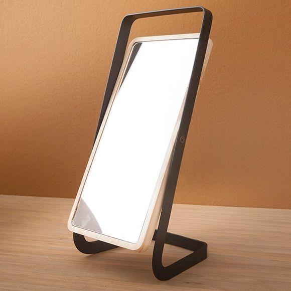 Specchio rettangolare da appoggio in legno e metallo nero