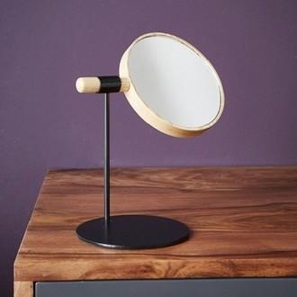 Miroir maquillage à poser amovible bois et métal - 45x33x24cm