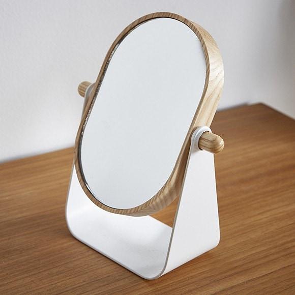 Specchio ovale da appoggio in legno e metallo