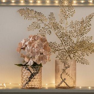 Vase en verre rose strié ø9x16cm