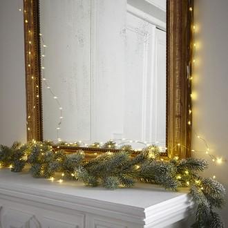 Guirlande lumineuse 150 ampoules led 4,5v câble doré 7.5m, usage intérieur et extérieur