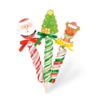 Sucette torsadée avec bonbon gélifié figurine de Noël