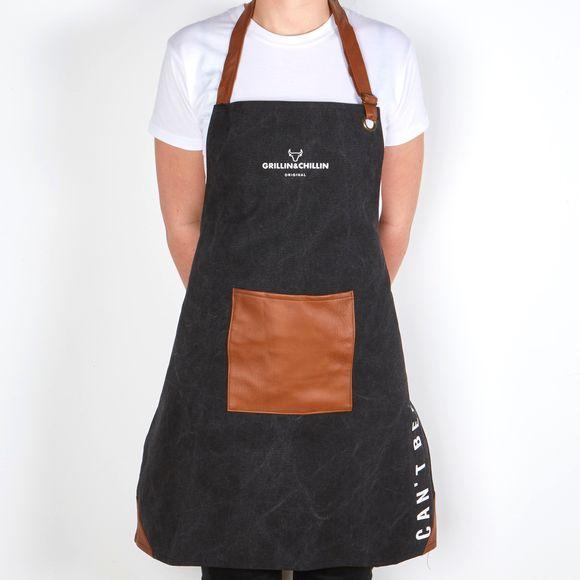 Grembiule da cucina con pettorina in tela nero