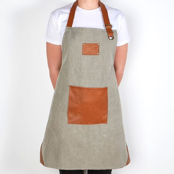 Grembiule da cucina con pettorina in tela grigio