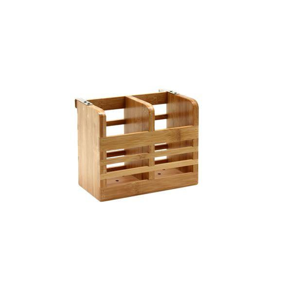 Egouttoir à couverts 2 compartiments en Bambou 16x10x13cm