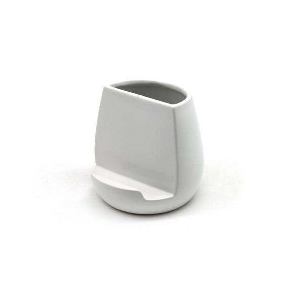 Achat en ligne Pot à ustensiles multifonction céramique blanc 13x13x12.5cm