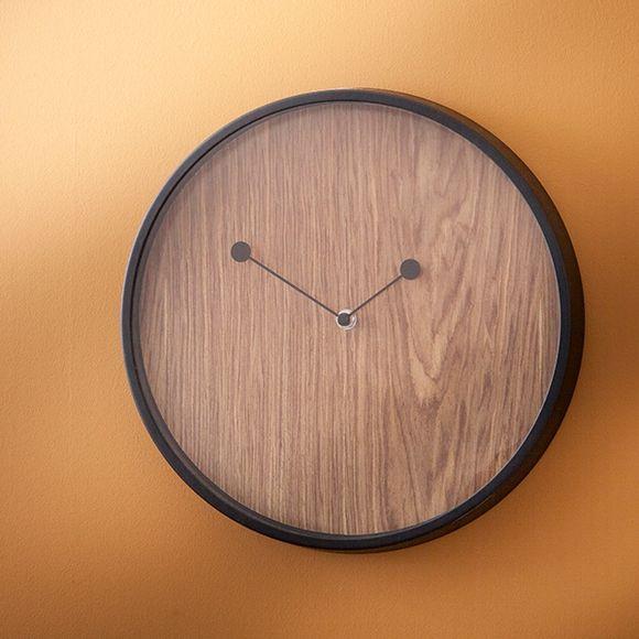 Horloge Drift bord métal noir fond couleur noyer 30,5cm