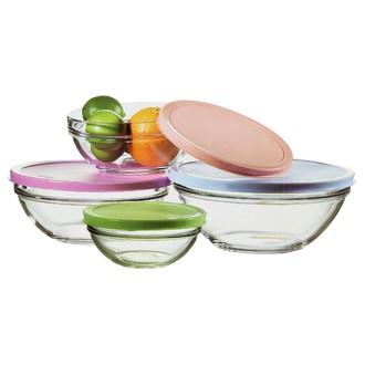 Lot de 4 saladiers verre avec couvercle plastique Ø14 Ø17 Ø20 Ø23