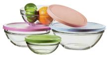 Achat en ligne Lot de 4 saladiers verre avec couvercle plastique Ø14 Ø17 Ø20 Ø23