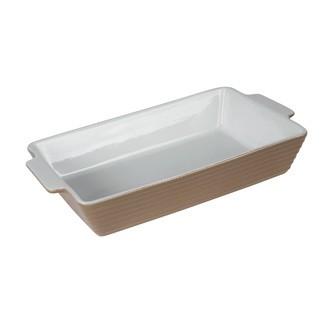 TABLE PASSION - Plat à four rectangulaire grès gris Piazza 39x24cm