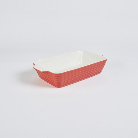 Piatto rettangolare in gres porcellanato rosso, 27x15 cm